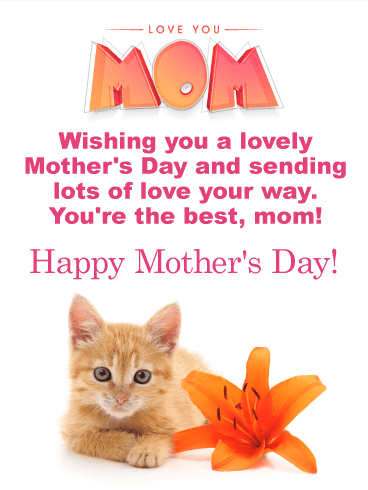Flower & Kitten Happy Mother's Day Card