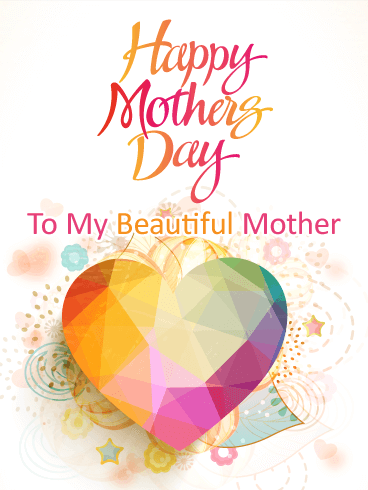 Stunning Glass Heart Happy Mother's Day Card