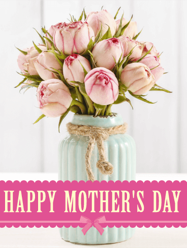 Pretty Pink Roses Happy Mother's Day Card