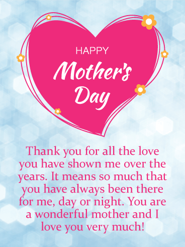 Thank You for Your Love - Happy Mother's Day Card