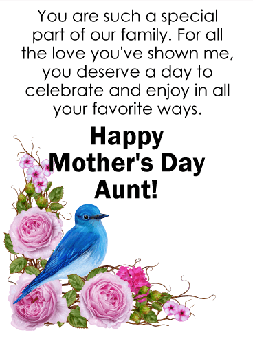 you are special happy mother s day card for aunt birthday