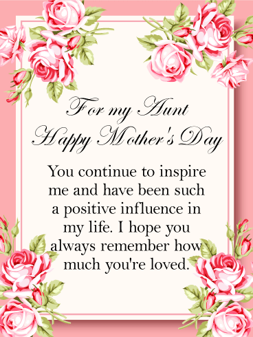 for my aunt happy mothers day you continue to inspire me and have been such