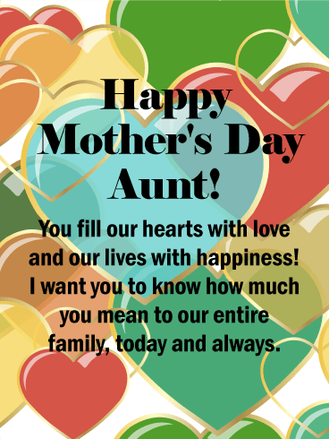 Colorful Hearts Happy Mother's Day Card for Aunt