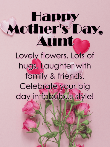 Lovely Flower Happy Mother's Day Card for Aunt