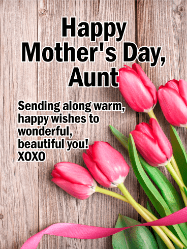 pink tulip happy mother s day card for aunt birthday greeting