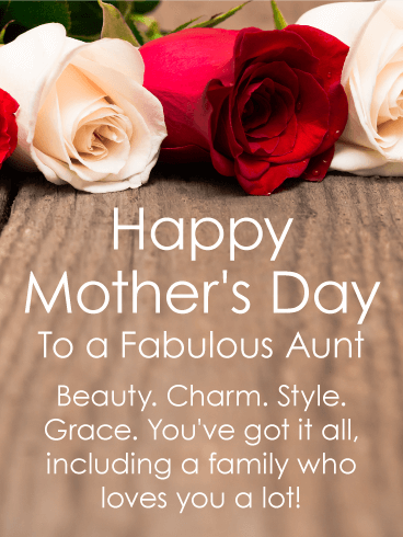 To a Fabulous Aunt - Happy Mother's Day Card | Birthday