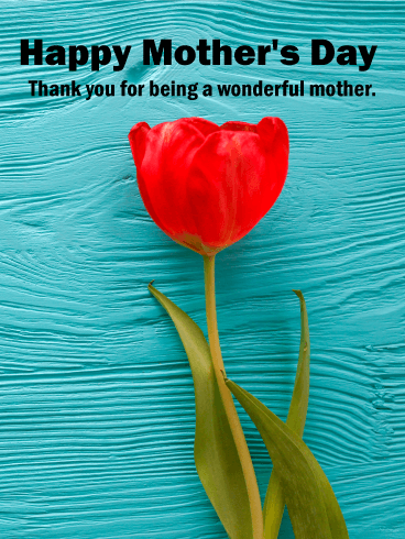 Red Tulip Happy Mother's Day Card