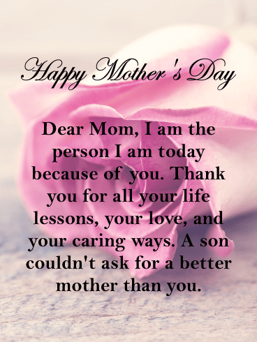 Thank You for Your Life Lesson - Happy Mother's Day Card