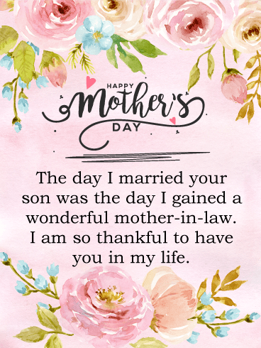 I am Thankful - Happy Mother's Day Card for Mother-In-Law