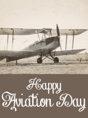 Vintage Style Happy Aviation Day Card