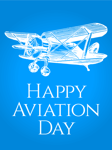 Blue Happy Aviation Day Card