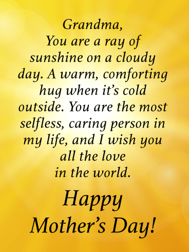 You Are a Ray of Sunshine on a Cloudy Day-Happy Mother's Day Card for Grandmother