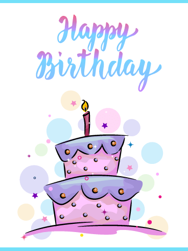 Pretty Pastel Cake – Happy Birthday Card
