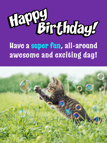 Kitten & Bubbles – Happy Birthday Card