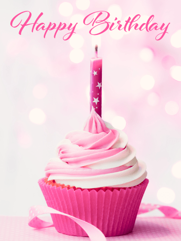 Perfect Pink Cupcake – Happy Birthday Card