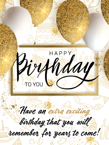 Sparkling Golden Balloons – Happy Birthday Card
