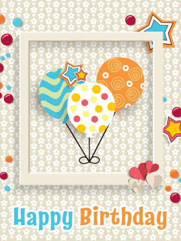 Artistic Celebration Balloons – Happy Birthday Card