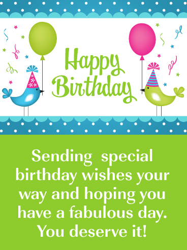 Cute Birds with Party Hats – Happy Birthday Card