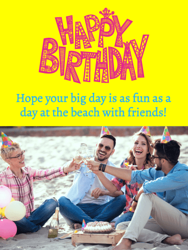 A Day at the Beach – Happy Birthday Card