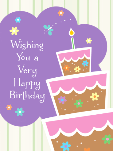 Pretty Cake & Flowers – Happy Birthday Card