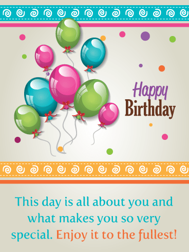 Colorful Balloons & Swirls – Happy Birthday Card