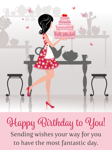Cake & Butterflies – Happy Birthday Card