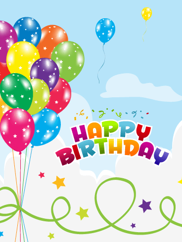 Vibrantly Colored Balloons – Happy Birthday Card