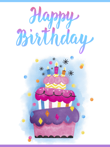 Decorative Celebration Cake – Happy Birthday Card