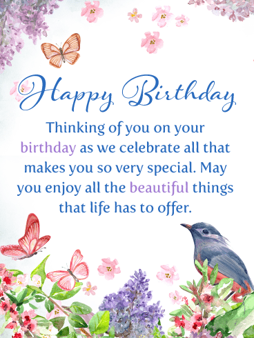 Birds & Butterflies – Happy Birthday Card