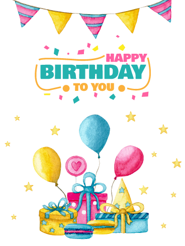 Watercolor Balloons & Presents – Happy Birthday Card