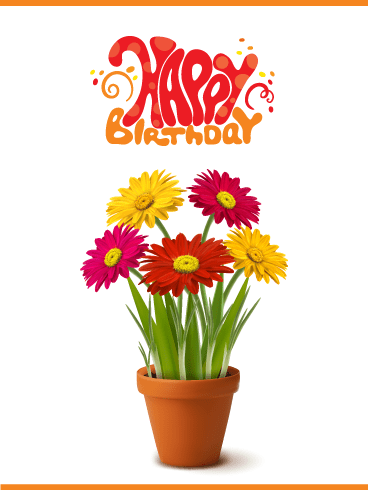 Vibrant Flowers – Happy Birthday Card
