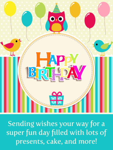 Cute Celebration Birds – Happy Birthday Card