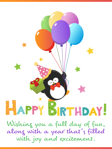 Fun Penguin – Happy Birthday Card