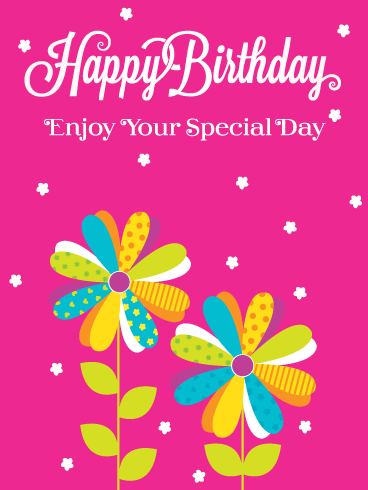Colorful Flowers and Pink Background – Happy Birthday Card