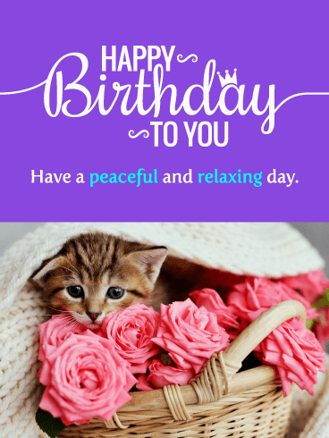 Sweet Kitten & Roses – Happy Birthday Card