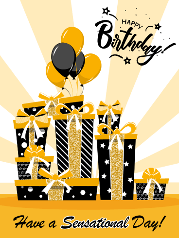 Golden Gift Boxes – Happy Birthday Card