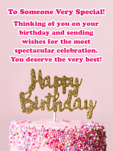 Pink Frosting and Gold Letters Happy Birthday Card