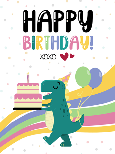 Dino and Cake – Happy Birthday Card