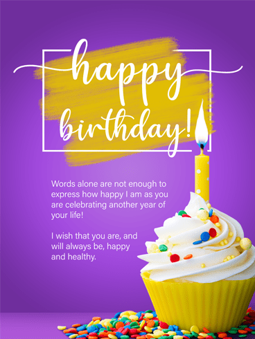 Yellow Cupcake – Happy Birthday Card