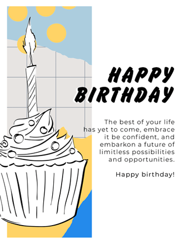 Freshly-Drawn Cupcake – Happy Birthday Card