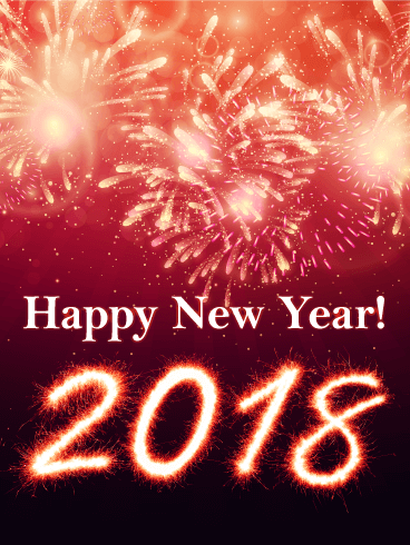 Pink New Year Fireworks Card 2018
