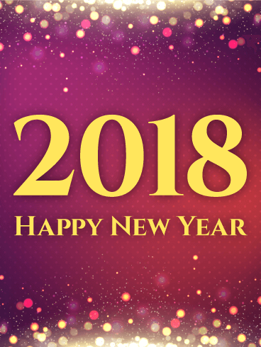 Shiny Purple Happy New Year Card 2018