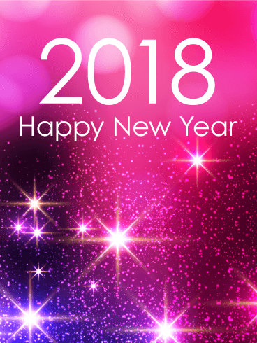 Pink Glow Happy New Year Card 2018