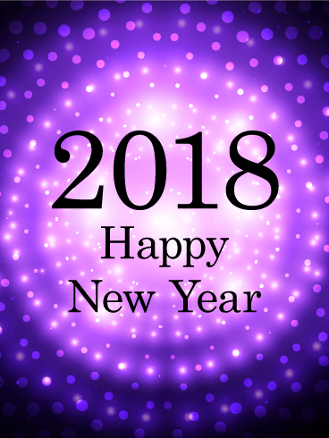 Purple Glow Happy New Year Card 2018