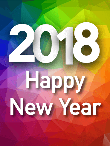 Colorful Rainbow Happy New Year Card 2018