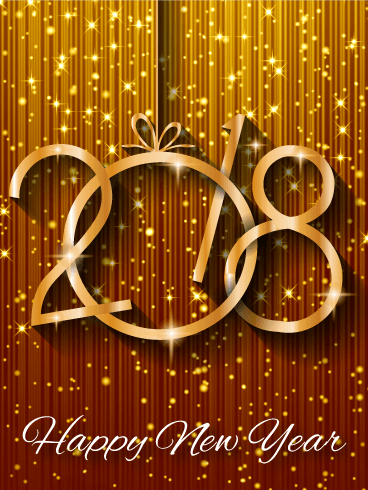 Shiny Gold Happy New Year Card 2018