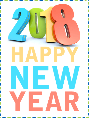 Vivid Color Happy New Year Card 2018