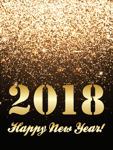 Golden Glitter Happy New Year Card 2018