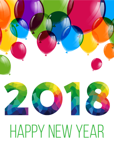 Colorful New Year Balloon Card 2018