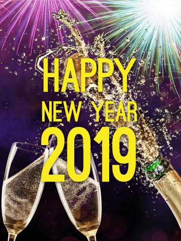 cheers happy new year card 2019